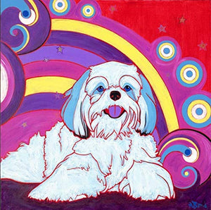 Retro Shih Tzu Print - Dog Pop Art MATTED Print by Angela Bond
