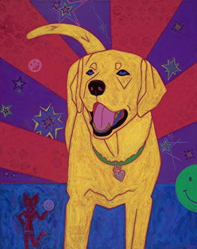 Happy Yellow Labrador Pop Art Print - Colorful Dog Art by Angela Bond