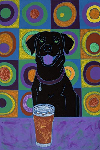 Drinking Buddy Labrador Wall Art Print - Colorful Dogs, MATTED Print Kandinsky Design by Angela Bond