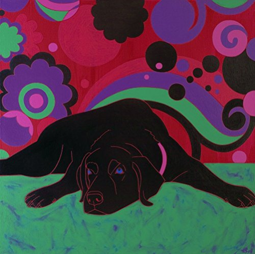 Labrador Print - Retro Dog Art - Large MATTED Print by Angela Bond