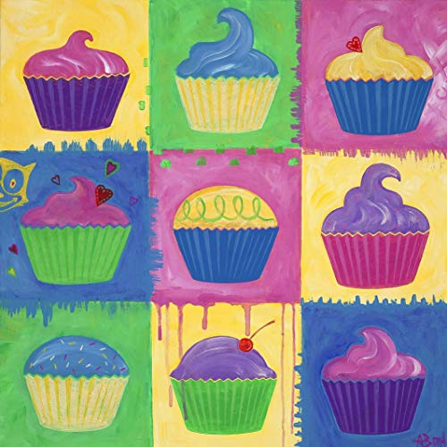 Cupcake Art Print - Warhol Inspired MATTED Pop Art Print by Angela Bond