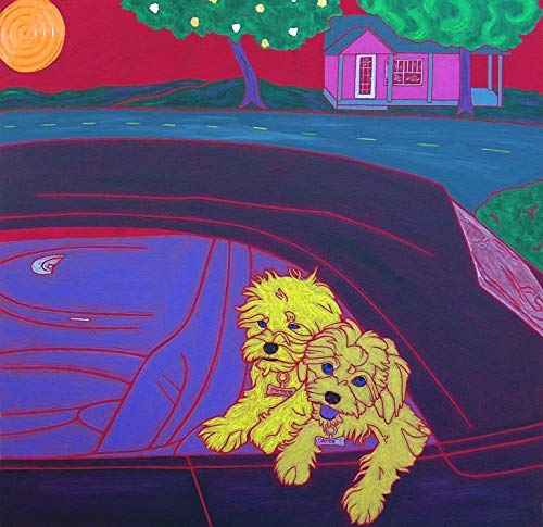 Back Seat Drivers Humorous Dog Art MATTED Print by Angela Bond Art