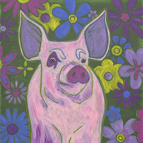 Pig Wall Art, Pop Art Pig Animal Art by Angela Bond