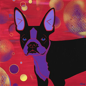 Boston Terrier Disco Bubble Design - Dog Pop Art MATTED Print by Angela Bond
