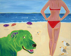 Dog Beach - Humorous Dog Pop Art Print, Colorful Dogs by Angela Bond