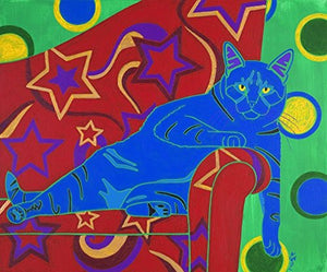 Humorous Cat Art - Cat Pop Art LARGE Matted print by Angela Bond