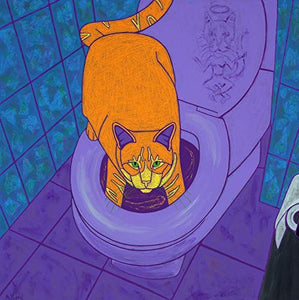Cat Art Print - Potty Art - Bathroom Art Print - Pop Art Cat by Angela Bond