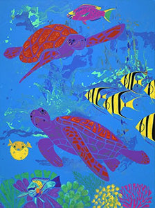 "Sea Life Art Print - Nautical Art LARGE 16"" X 20"" Matted Print - Animal Pop Art by Angela Bond"