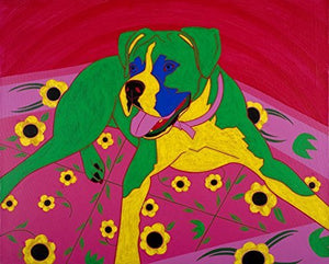 Boxer on Rug Art Print - Matisse Inspired - Colorful Dog Art by Angela Bond