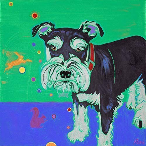 Superfly Schnauzer - Dog Art Print, Colorful Dogs by Angela Bond