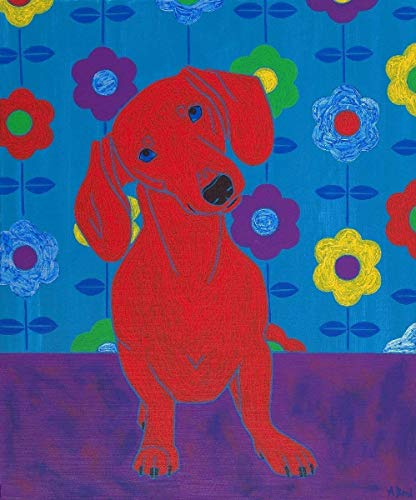 Clever Dachshund Art, Clever Sausage Dog MATTED Print Floral Design - by Angela Bond