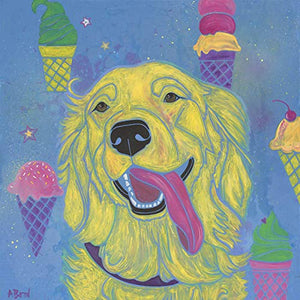 Golden Retriever Art - Waiting for the Ice Cream Truck, Dog Art Print, Pop Art by Angela Bond