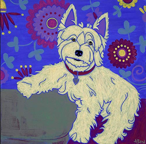 The Best Thing Around West Highland Terrier Print - Warhol Inspired, Westie Art MATTED Print, Dog Art by Angela Bond
