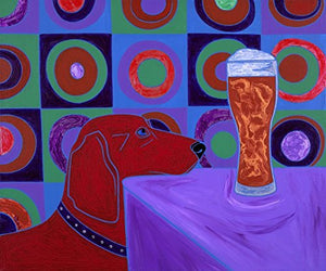 "Dog with Beer - LARGE 16"" X 20"" Dog Art MATTED Print by Angela Bond"
