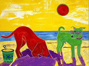 Day at the Beach - Humorous Dog Wall Art - Dog Pop Art by Angela Bond