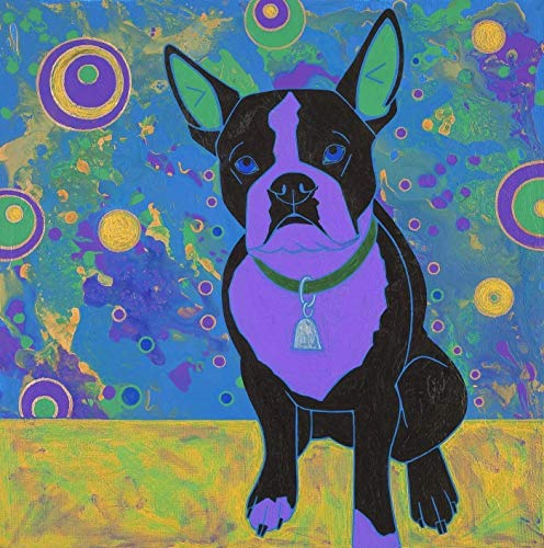 Boston Terrier Art - Bubble Pop Boston - Colorful Dogs MATTED Print- by Angela Bond
