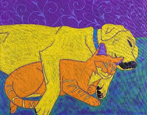 Sleeping Dog and Cat Print - Animal Pop Art MATTED Print my Angela Bond