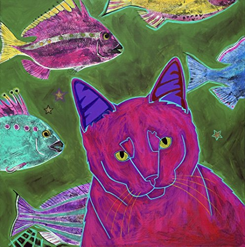 Colorful Cat Art Print - Obsessive Thinking Homorous Animal art Matted Cat Print by Angela Bond