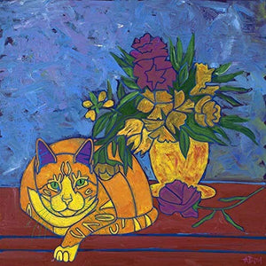 Still Life with Meow - Cat Pop Art Print - Tabby Cat MATTED Print by Angela Bond