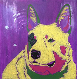 Cattle Dog Art - Blue Heeler MATTED Print Colorful Dogs by Angela Bond Art