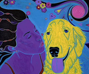 Golden Retriever Art Print - Dog Pop Art MATTED Print by Angela Bond