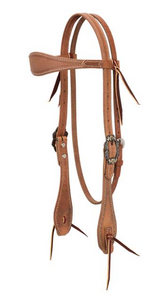 Weaver Browband Headstall with Spots - Roughout