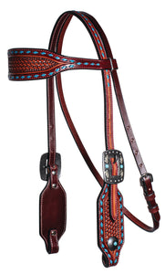 Professional's Choice Browband Headstall - Basket Weave Blue