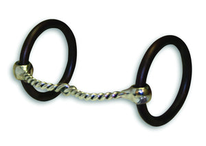 "The sweet iron has a very appealing taste for the horse. The size of this twisted snaffle will offer a lot of feel in a horse's mouth, while remaining very gentle. Weighted rings encourage a lower head carriage. Mouth: 5 1/4"", Rings: 3"""