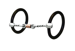 "This is a really good snaffle that has a large twist which offers more feel and control than a standard smooth snaffle. The dog bone and rings in the center will aid a rider in helping a horse that needs more lateral flexion. Mouth: 5"", Rings: 3"""