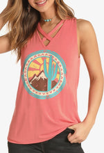 Load image into Gallery viewer, V-Neck Cactus Graphic Tank Top