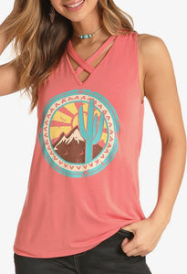 V-Neck Cactus Graphic Tank Top