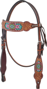Rafter T Browband Headstall - Beaded Inlay
