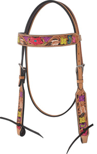 Rafter T Browband Headstall - Hand Painted Floral Tooling
