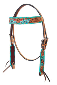 Rafter T Browband Headstall - Painted Cactus