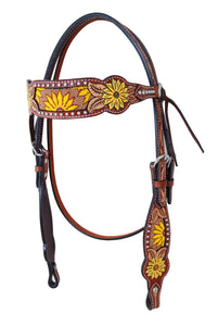 Rafter T Browband Headstall - Painted Sunflower
