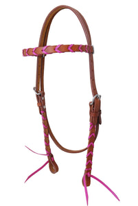 Rafter T Browband Headstall - Leather Plait
