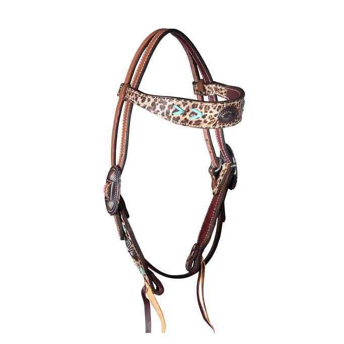 Leopard and Turquoise Gag Browband Headstall