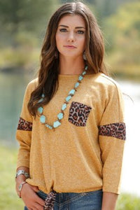 Gold 3/4 Sleeve Knit Top