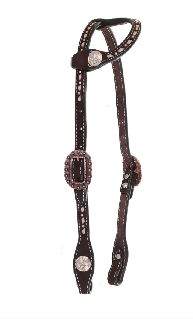 Double J Brown Rough Out Buck Stitched Single Ear Headstall H1195