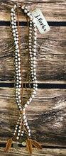 Load image into Gallery viewer, 4Std Pearls, Brz Chain & Lthr Lariat
