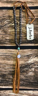 Wood/Slv w/Turq, Nickel & Leather Tassel