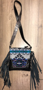 Pendleton Buckstitch Crossbody Purse with Fringe by Hailey Drent