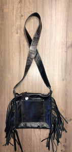 Grey Pendleton Crossbody Purse with Fringe by Hailey Drent