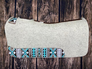 "5 Star Barrel Racer 7/8"" Pad - Natural with Turquoise White Navajo Wear Leathers"