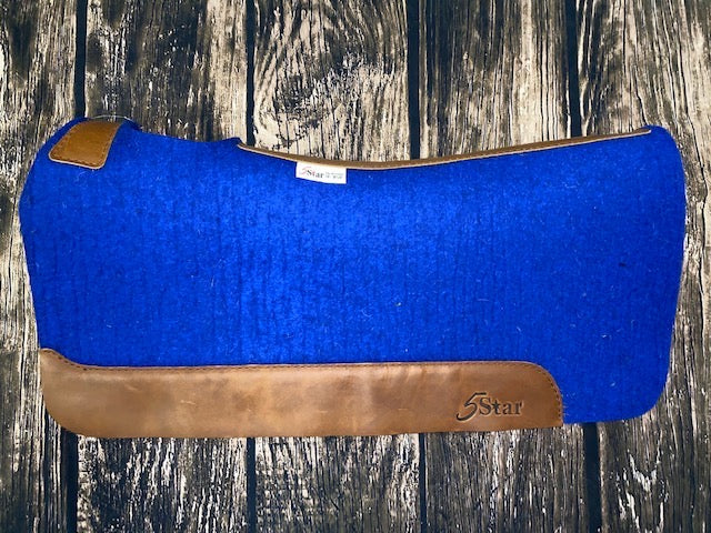 5 Star Saddle Pad - Royal Blue with Plain Wear Leathers (Multiple Sizes Available)