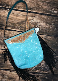 Rafter T. Turquoise Bucket Crossbody