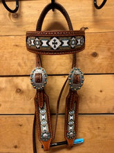 Load image into Gallery viewer, Rafter S. Beaded Cross Headstall