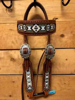 Rafter S. Beaded Cross Headstall