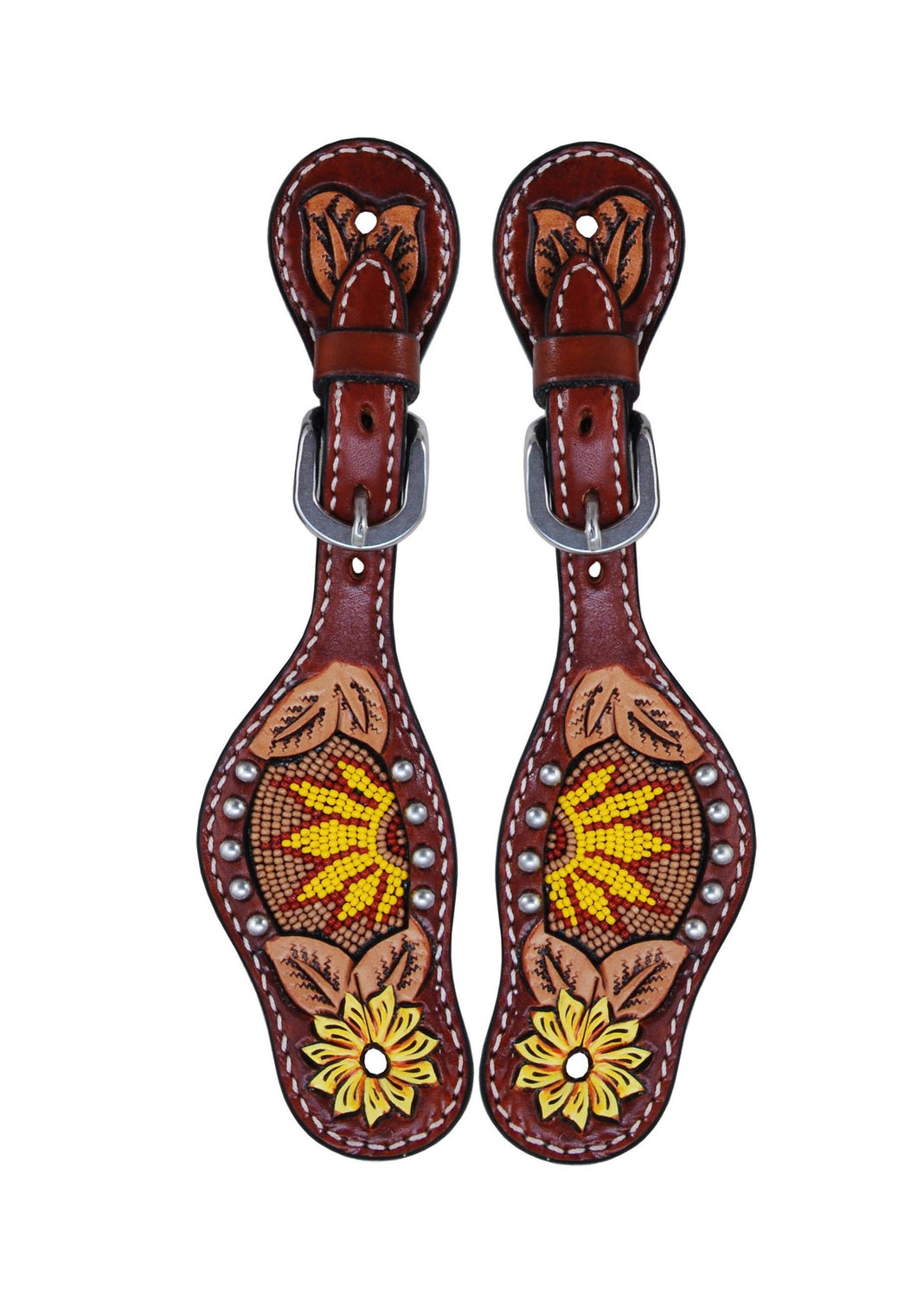 Rafter T Kids Spur Strap - Beaded Sunflower