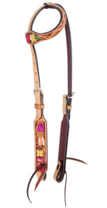 Rafter T One Ear Headstall - Hand Painted Multi Color